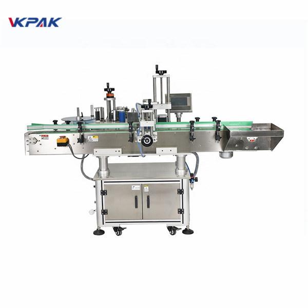 Automatický vertikálny štvorcový fľaškový štvorstranný štítkovací stroj