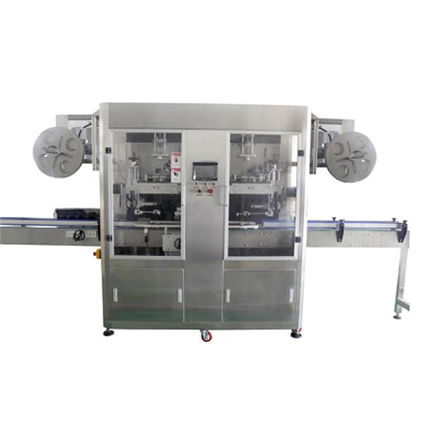 Plnoautomatický stroj na označovanie štítkov s dvojhlavým rukávom a výstrihom na fľašu a telo