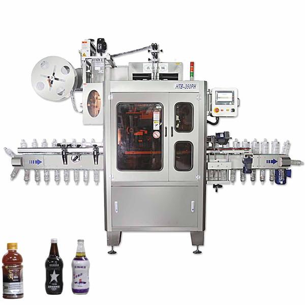 Stroj na zmršťovanie rukávov lineárneho typu s ovinutím okolo štítkovacieho stroja